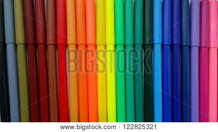Multicolored Felt Tip Pens, colorful markers abreast