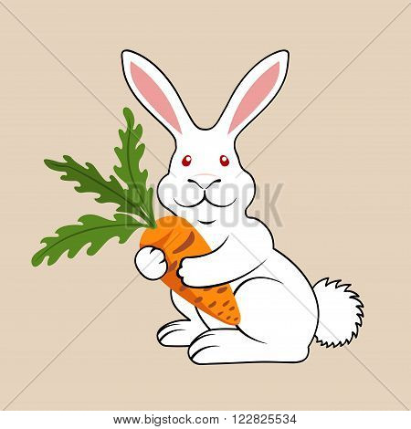 White Funny Smiling Rabbit with Carrot Vector