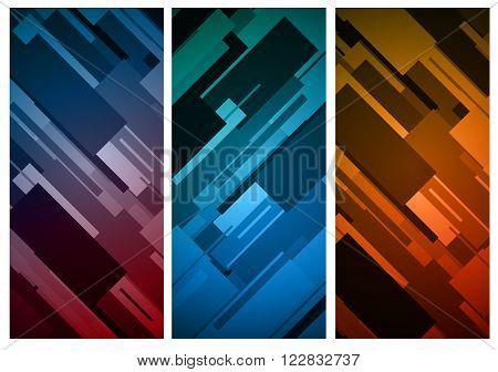 Rectangular vertical colorful diagonal rhytm banner background
