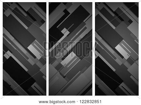 Rectangular black and white diagonal rhytm banner background