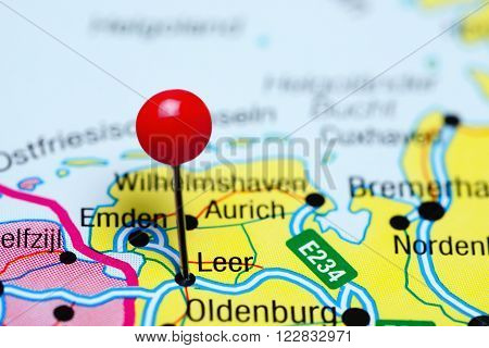 Photo of pinned Leer a map of Germany. May be used as illustration for traveling theme.
