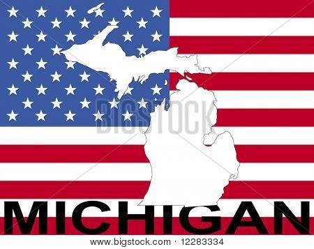 map of Michigan on American flag illustration