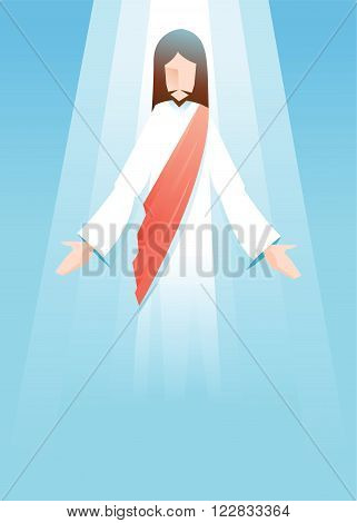Vector illustration of Jesus Christ is risen in blue background