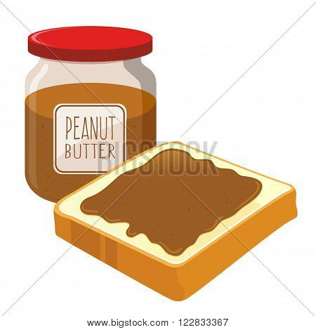 Peanut butter spread on top of a slice of bread vector illustration