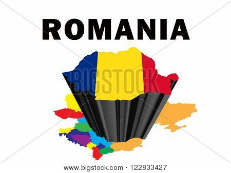 Outline map of Eastern Europe with Romania raised and highlighted with the national flag