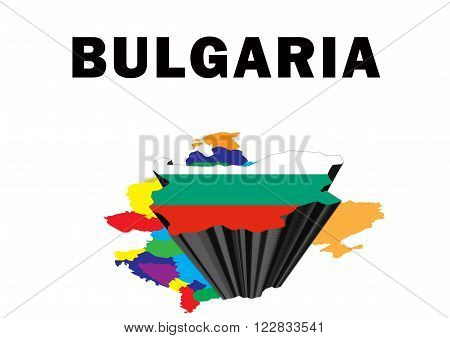 Outline map of Eastern Europe with Bulgaria raised and highlighted with the national flag