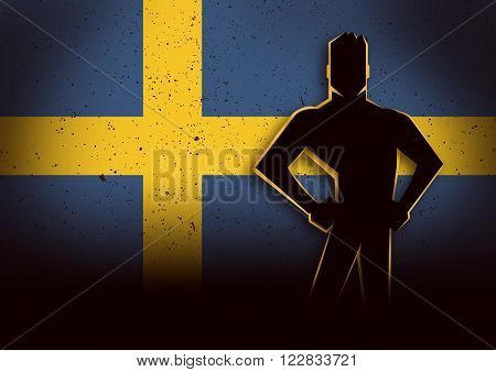 Silhouette illustration of a man standing in front of Sweeden flag