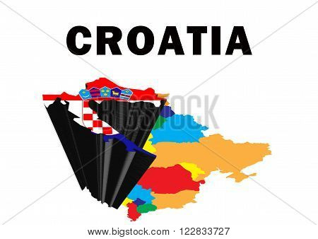 Outline map of Eastern Europe with Croatia raised and highlighted with the national flag