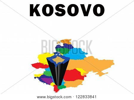 Outline map of Eastern Europe with Kosovo raised and highlighted with the national flag