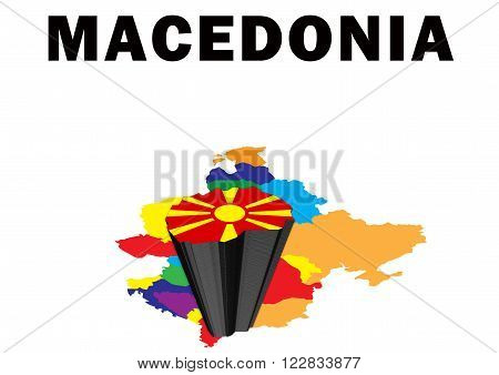 Outline map of Eastern Europe with Macedonia raised and highlighted with the national flag