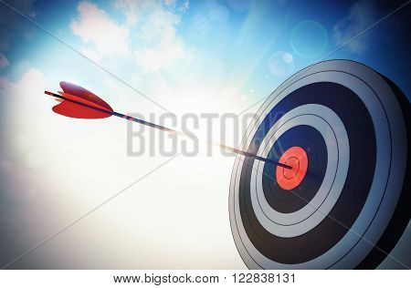 Target hit in the middle by arrow
