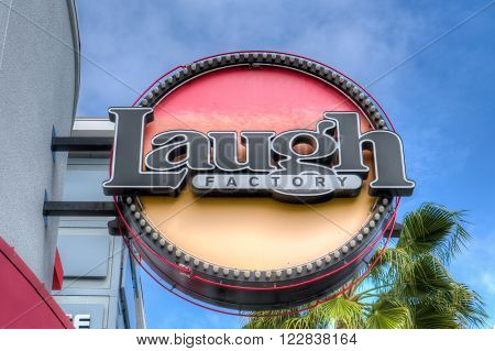 LONG BEACH, CA/USA - MARCH 19, 2016: Laugh Factory comedy club exterior and sign. The Laugh Factory is a comedy club with locations in southern California.