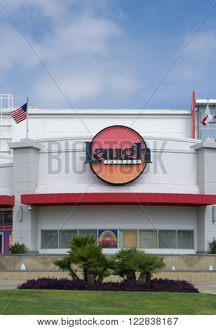 LONG BEACH CA/USA - MARCH 19 2016: Laugh Factory comedy club exterior and sign. The Laugh Factory is a comedy club with locations in southern California.