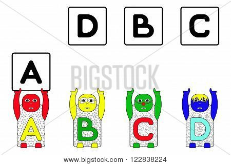 EDUCATIONAL MATCHING TASK WITH CHILDREN'S NAMES A,B,C and D. (ALPHABETICAL MATCHING TASK FOR CHILDREN)