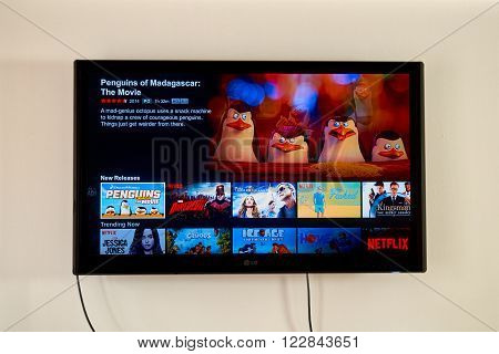 MONTREAL CANADA - MARCH 20 2016 - Netflix application running on LG TV. Netflix is a well known global provider of streaming movies and TV series.