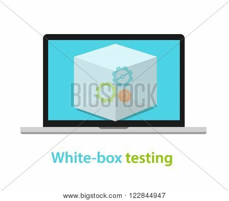 white box testing software application development process methodology vector