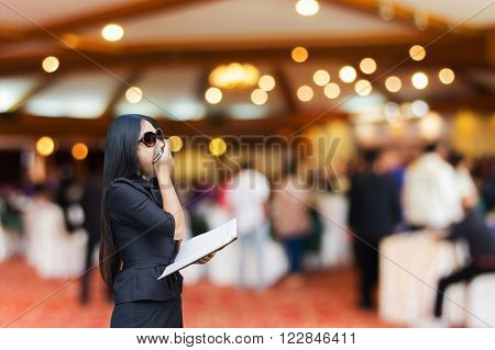 Not sleep a wink, business women yawn in convention room