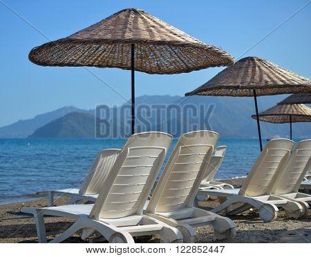 Beach in Marmaris bay, Mediterranean sea, Turkey
