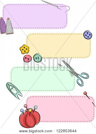 Banner Illustration Featuring Colorful Sewing Notions