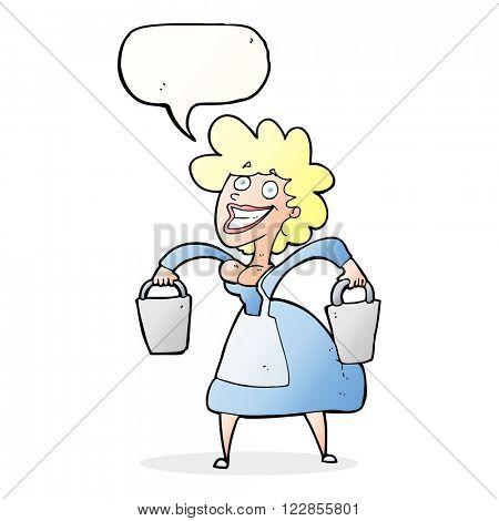 cartoon milkmaid carrying buckets with speech bubble