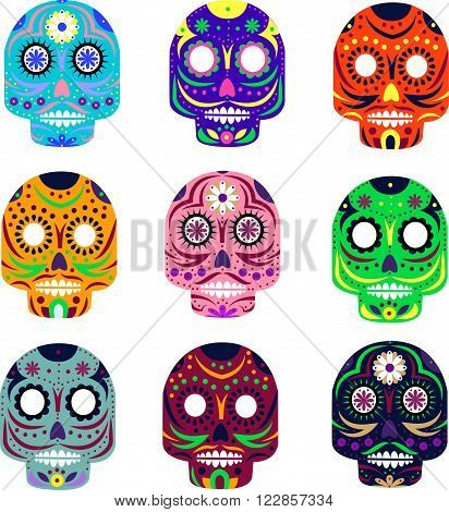 Mexican day of the dead concept vector illustration. Muerte festival. Colorful set of skulls isolated on white background.