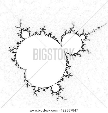 High resolution black and white full Mandelbrot fractal pattern background
