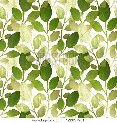 Silver and green hand-painted leaves on white background, seamless pattern