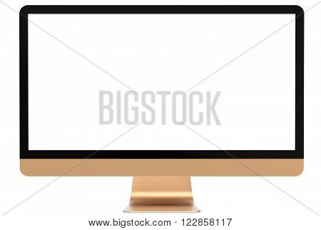Computer gold monitor on a white background, isolated.