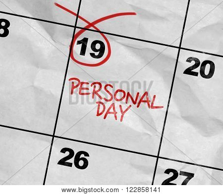 Concept image of a Calendar with the text: Personal Day