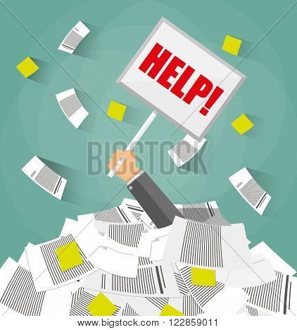 Stressed cartoon businessman in pile of office papers and documents with help sign. Stress at work. Overworked. Vector illustration in flat design on green background.