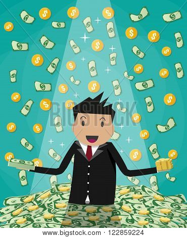 Happy cartoonl businessman raising from huge green money bills and gold coins pile. rain of money. vector illustration in flat design on green background