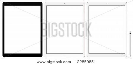 Set of tablet computer isolated on white background, with blank screen mockup, isolated. Whole render in focus.