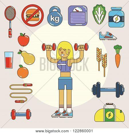 Healthy lifestyle. Vector flat icon set, illustration esp10