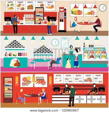 Fast food restaurant interior vector illustration. Banners set in flat design. Ice cream cafe. Menu in fast food eatery.