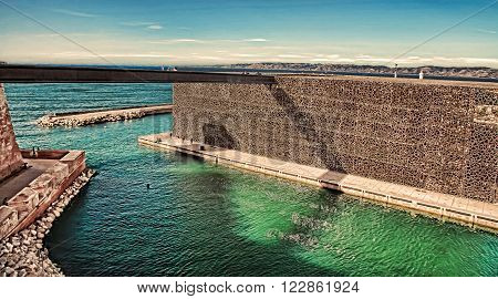 MARSEILLE, FRANCE - November 19, 2015 : The modern building of Museum of European and Mediterranean Civilizations (MuCEM). It was  inaugurated on 2013 when the city was the European Capital of Culture