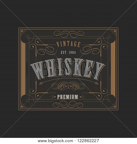 Vintage ornament western design template for whiskey label with flourishes frame and calligraphic border
