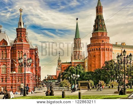 Moscow Russia - May 24 2015: The State Historical Museum of Russia. Located between Red Square and Manege Square in Moscowwas founded in 1872