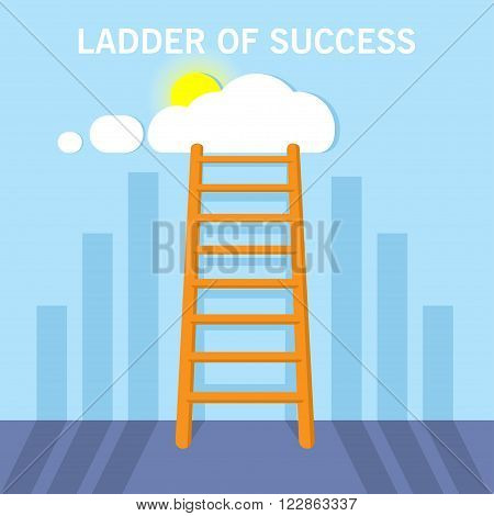 Ladder to clouds with shadow. Vector design competition concept. Ladder to the succes.