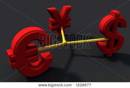 Dollar, Yen And Euro Connected
