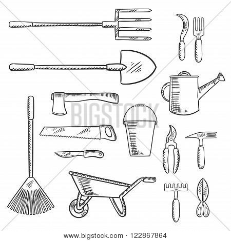Gardening or agricultural tools with axe and saw, shovel and bucket, pitchfork and rake, wheelbarrow and watering can, knife and  cultivator, scissors, shears and sickle. Agriculture, gardening themes