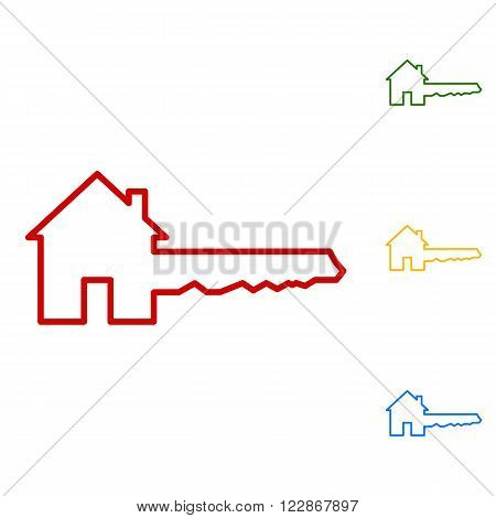 Home Key sign. Set of line icons. Red, green, yellow and blue on white background.