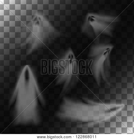 Ghosts on transparent background. Translucent isolated phantoms set. Vector illustration.