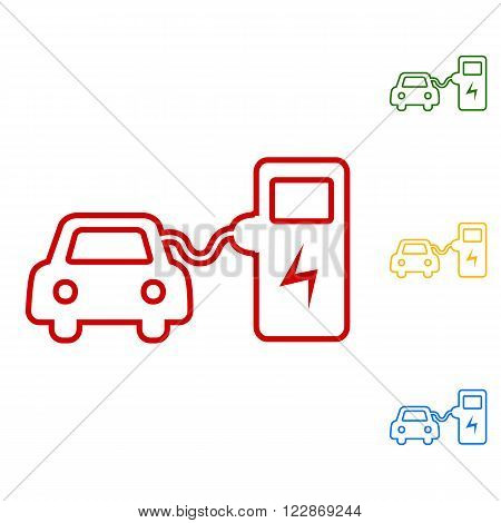 Electrocar battery charging sign. Set of line icons. Red, green, yellow and blue on white background.