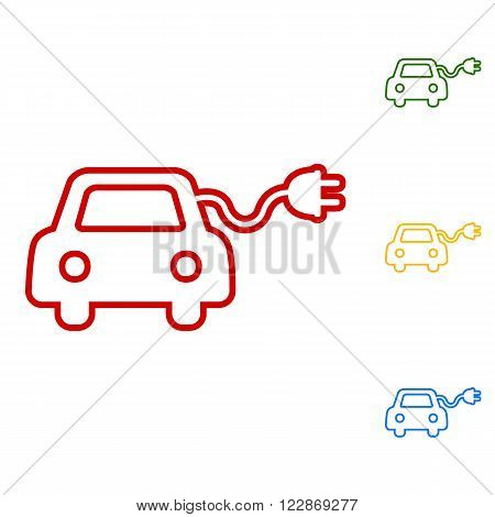 Eco electrocar sign. Set of line icons. Red, green, yellow and blue on white background.