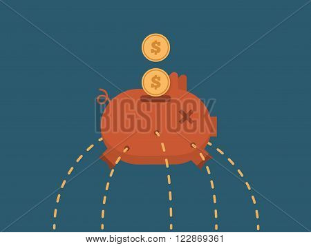 Vector illustration Leaking Piggy Bank. Cartoon Illustration.