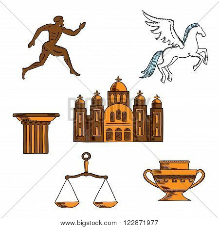 Ancient greek mythology, art, religion and architecture sketches for welcome to Greece concept design with winged horse pegasus, amphora, doric column, sparta runner, scales and orthodox cathedral