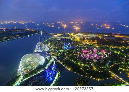 SINGAPORE, FEBRUARY 20 2016 :Supertree Grove in the Graden by the Bay in Singapore. Singapore on February 20 2016
