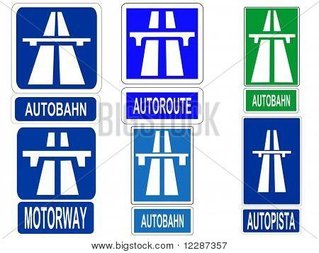 German Swiss Austrian Autobahn, French Autoroute, Spanish Autopista and British motorway sign JPG