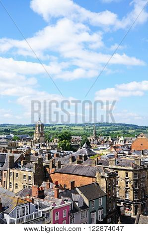 View over the city rooftops from the University church of St Mary spire Oxford Oxfordshire England UK Western Europe.