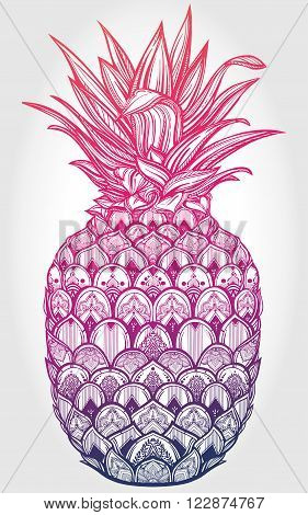 Vector ornamental pineapple fruit. Ethnic art, patterned Indian paisley. Hand drawn illustration. Invitation element. Tattoo, astrology, alchemy, boho and magic symbol.